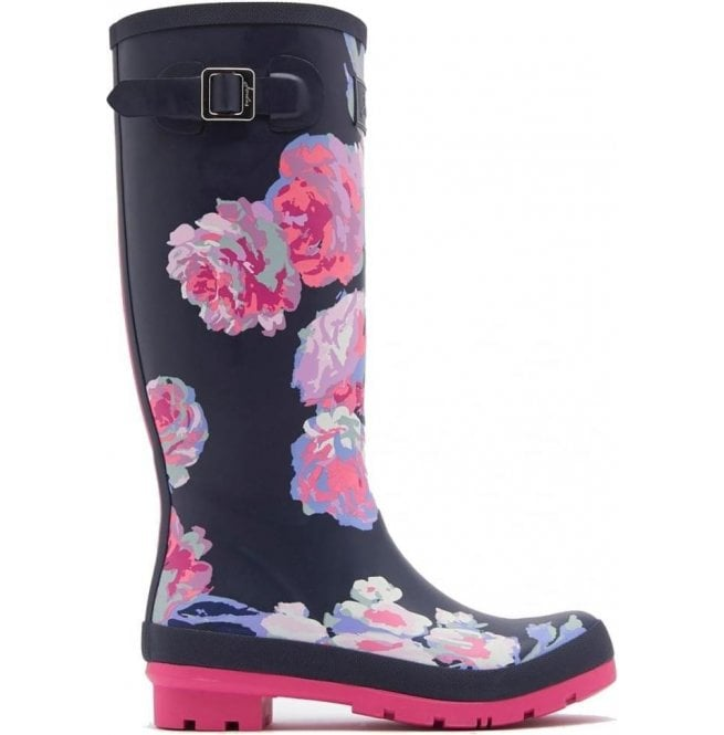 Joules Womens Wellyprint Tall Printed French Navy Beau Bloom Boots
