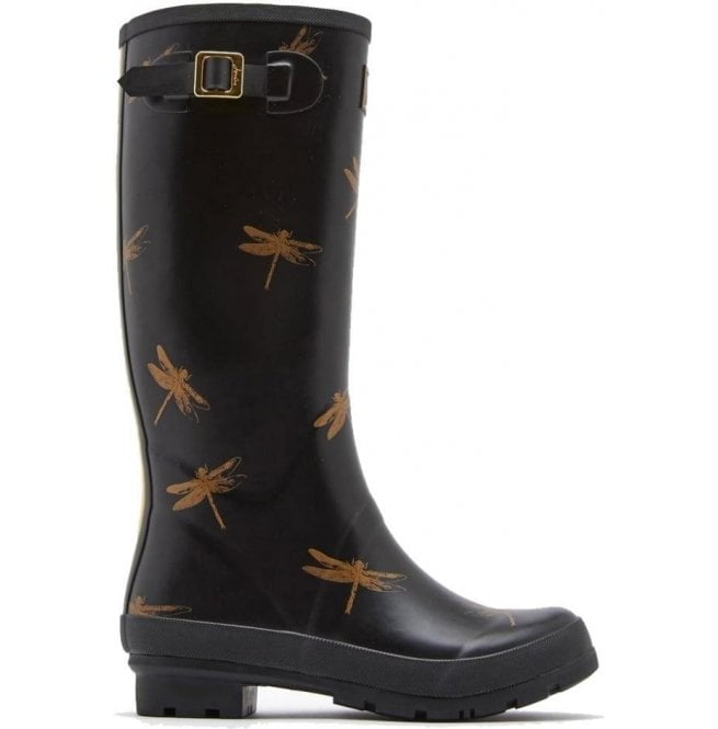 Joules Womens Wellyprint Tall Printed Black Dragonfly Boots