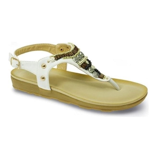 Lunar Womens Bliss White Toe Post Sandals JLH874 WT