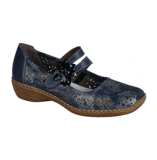 Rieker - Womens Cannes Bar Shoes In Blue/Silver Combi Leather 41372-90