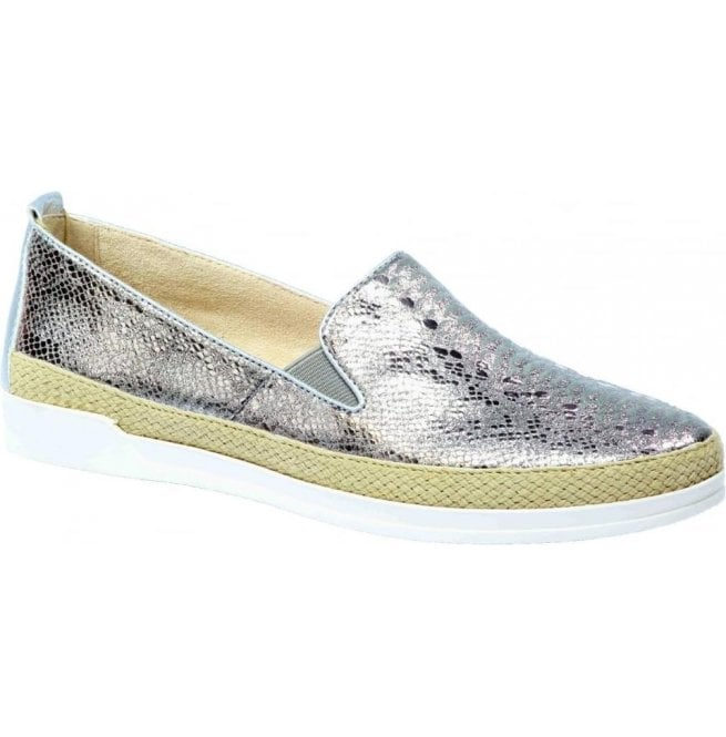 Caprice Womens Eos Grey Reptile Leather Slip On Loafers 9-9-24201-28 209
