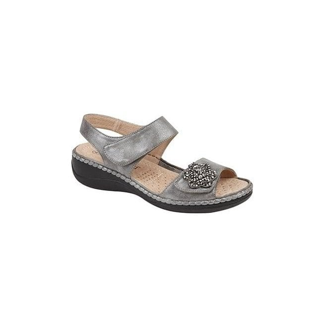 Boulevard Womens Pewter/Silver Twin Touch Fastening Sandals L982FS