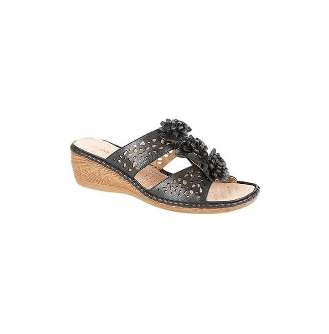 Boulevard Womens Black 2 Bar Punched Floral Mules L397A