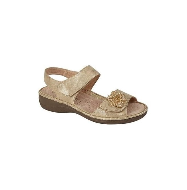 Boulevard Womens Gold Twin Touch Fastening Sandals L982BG