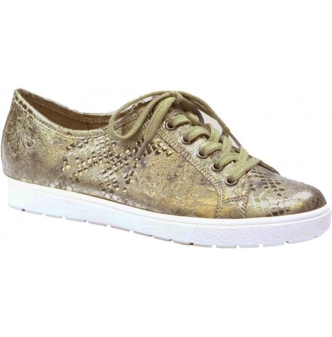 Caprice Womens Manou Gold Leather Lace Up Trainers 9-9-23650-28 943