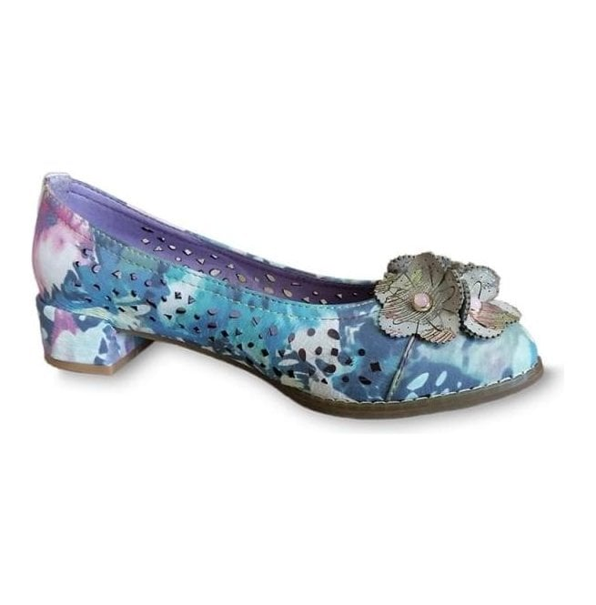 Laura Vita Womens Brittany 03 Grey/Multi Punch Detail Heeled Pump Shoes