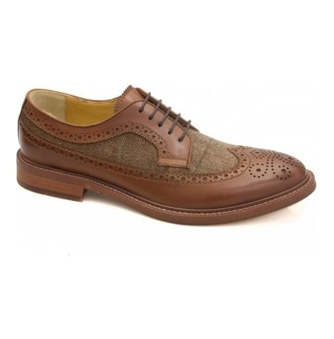 Steptronic Mens Buxton Tan & Tweed Waxed/Fabric 5 Eyelet Derby Shoes