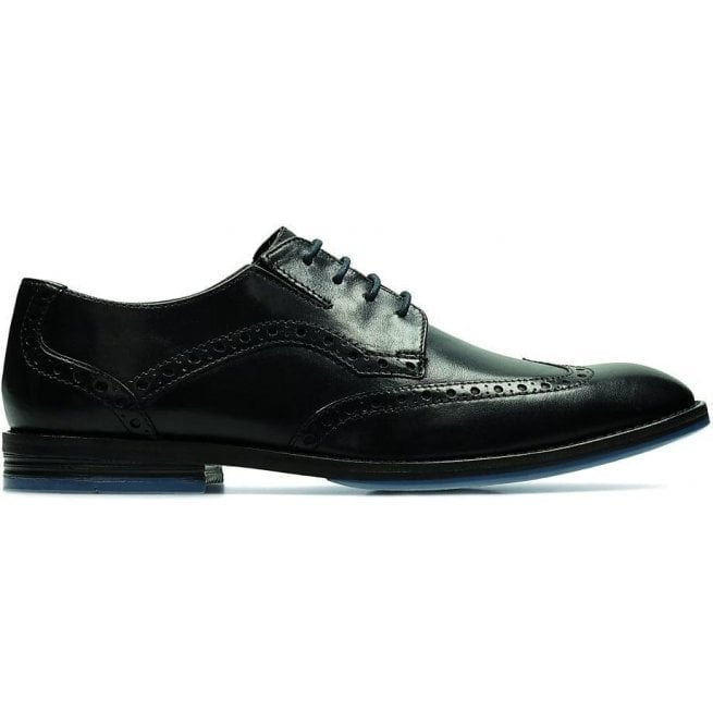 Clarks Mens Prangley Limit Black Leather Lace Up Brogue Shoes