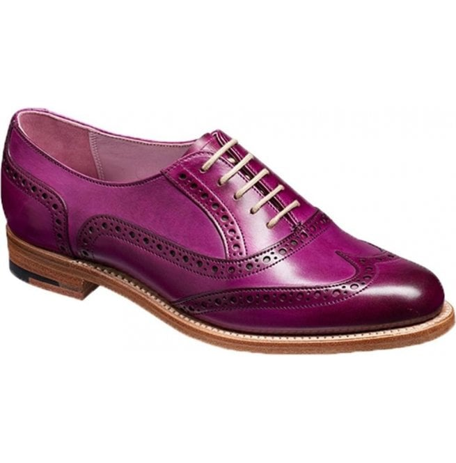 Barker Womens Fearne Purple Hand Painted Brogue Lace Up Shoes