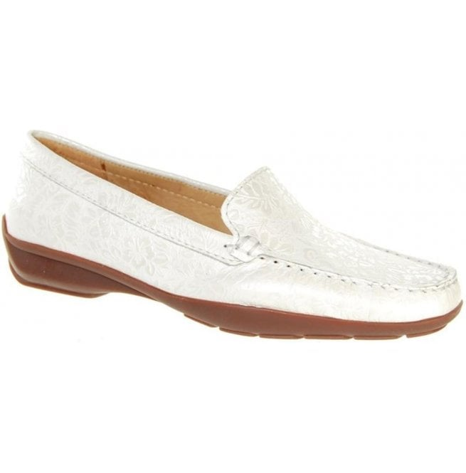 Capollini Womens June White Slip On Moccasin Loafers