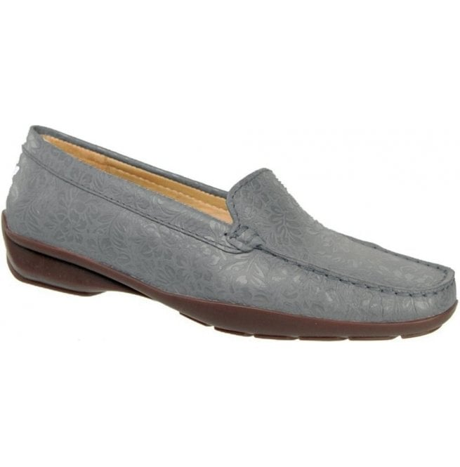 Capollini Womens June Floral Blue Slip On Moccasin Loafers