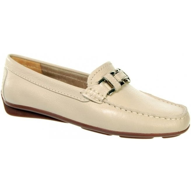 Capollini Womens Astrid Beige Slip On Moccasin Loafers