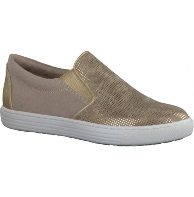 Marco Tozzi Womens Gold Slip On Casual Shoes 2-2-24613-28 943