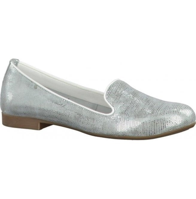 Womens Silver Leather Ballerina Pump Shoes 2-2-24228-28 941