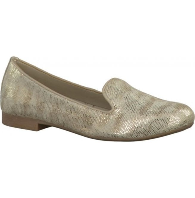 Marco Tozzi Womens Platinum Leather Ballerina Pump Shoes 2-2-24228-28 957