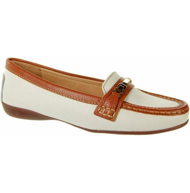 Capollini Womens Annie White/Tan Slip On Loafers V536