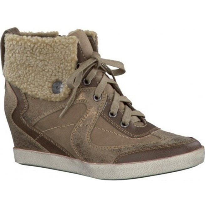 Marco Tozzi Womens Metallic Gold Combi Hi-Top Shoes 2/2-26206-21 925