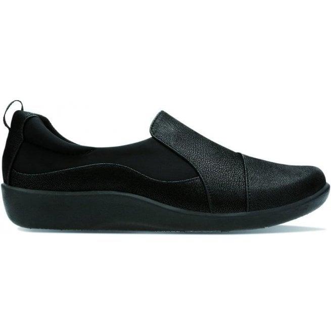 Clarks Womens Sillian Paz Black Slip On Casual Shoes
