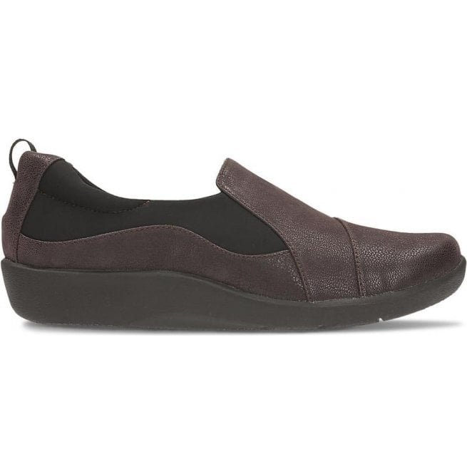 Clarks Womens Sillian Paz Aubergine Slip On Casual Shoes