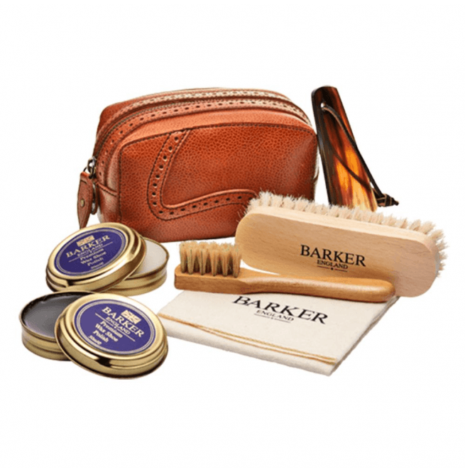 Barker Shoe Care Kit Cedar Leather Case