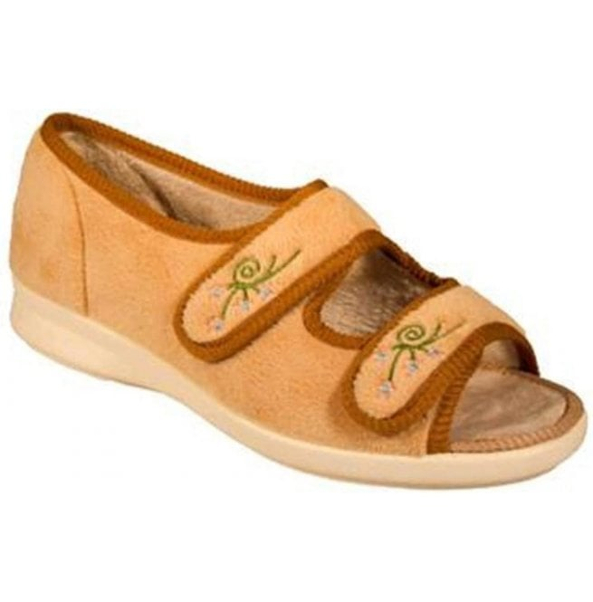 DB Easy B Womens Ace 2 Camel Velcro Wide Fitting Slippers 71075C EE-4E (2V)
