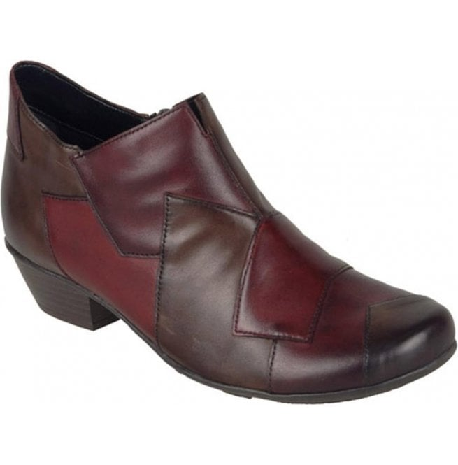 Remonte Womens Cristallin Red/Burgundy/Brown Combi Ankle Boots D7386-35