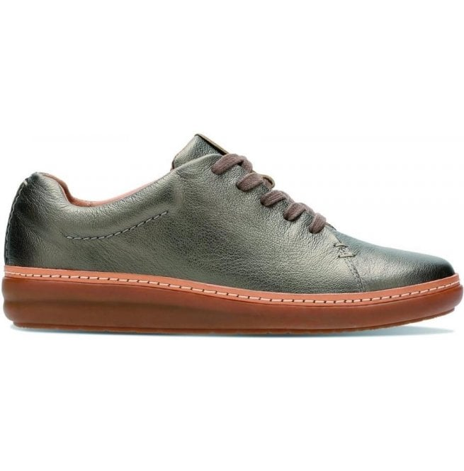 Clarks Womens Amberlee Crest Pewter Metallic Leather Lace Up Shoes