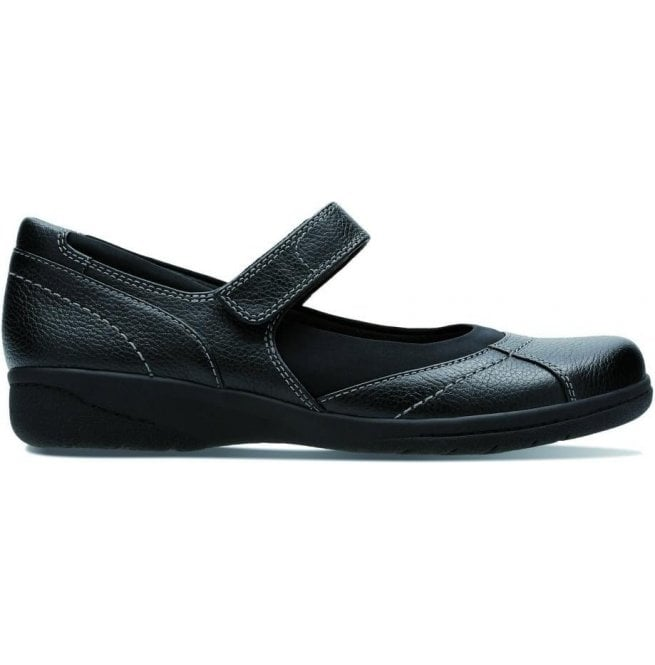 Clarks Womens Cheyn Web Black Leather Velcro Mary Jane Shoes