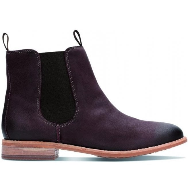 Clarks Womens Maypearl Nala Burgundy Leather Ankle Boots