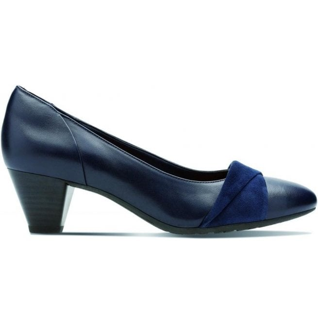 Clarks Womens Denny Louise Navy Leather Combi Court Shoes