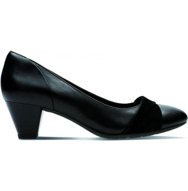 Clarks Womens Denny Louise Black Leather Combi Court Shoes