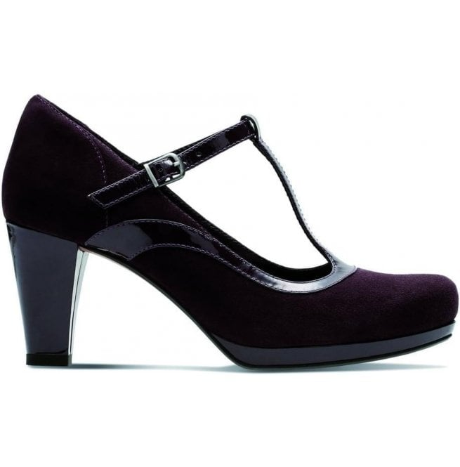Clarks Womens Chorus Pitch Aubergine Leather/Suede Combi T-Bar Shoes