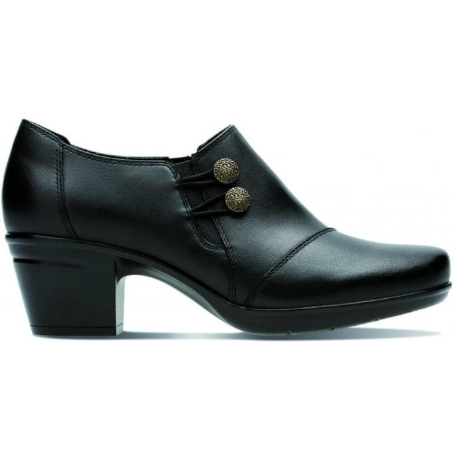 Clarks Womens Emslie Warren Black Leather Zip-Up Shoe Boots