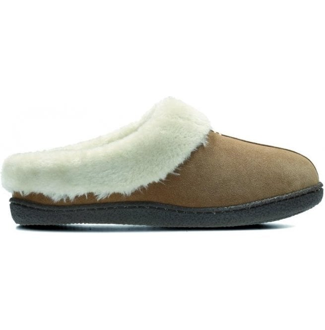 Clarks Womens Home Classic Tan Suede Fur Lined Slippers