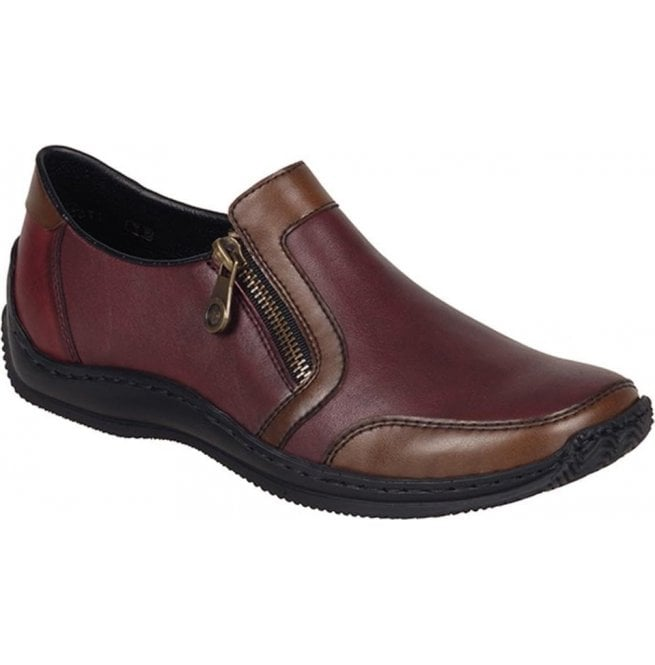 Rieker - Womens Bogota Red Leather Zip Shoes L1750-26