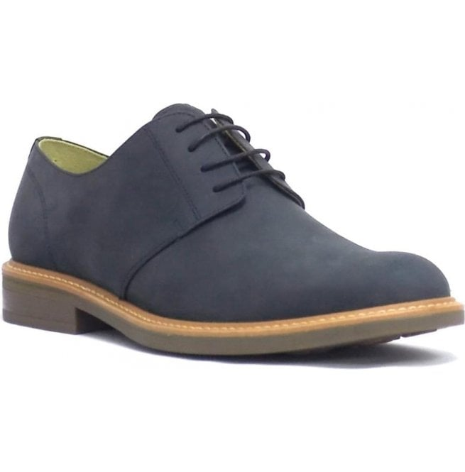 Steptronic Mens Gleneagles Navy Waxed Crazy Horse 4 Eyelet Tie Shoes