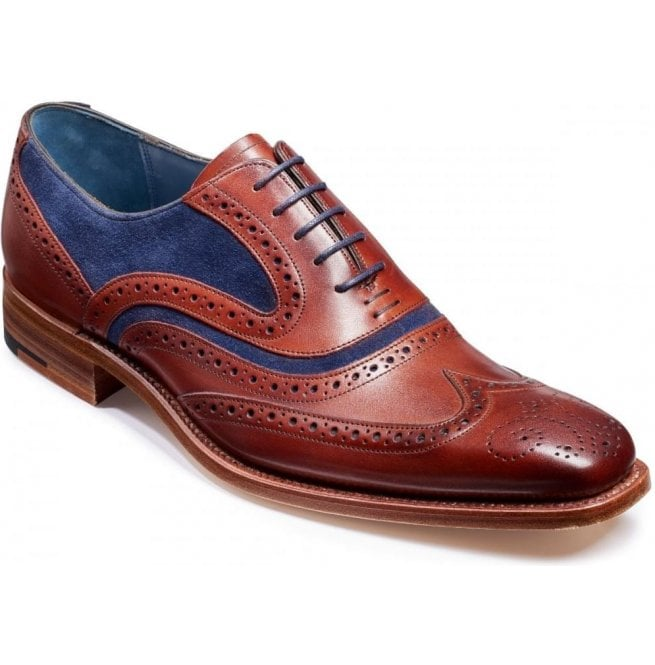 Barker Mens McClean Rosewood Calf and Navy Suede Brogue Tie Shoes