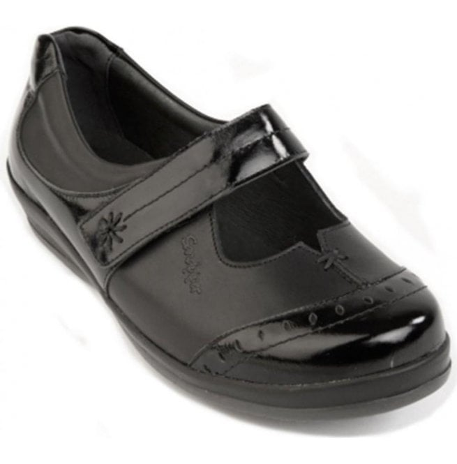 Sandpiper Womens Filton Black Leather/Patent Extra Wide Shoes