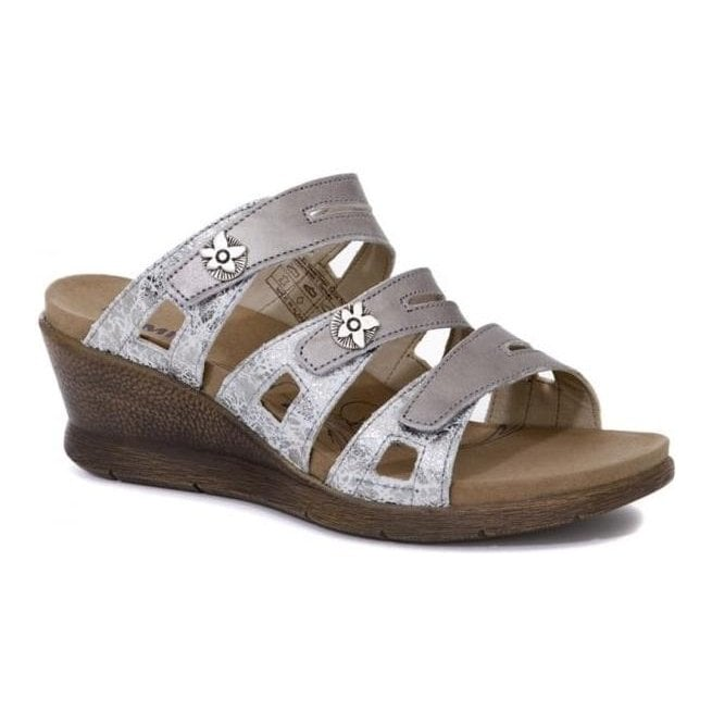 Romika Womens Nevis 04 Platinum-Kombi Triple Velcro Strap Over Sandals 20304 85 731