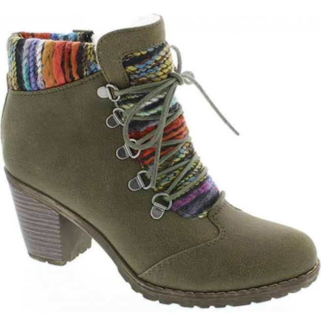 Rieker - Womens Brazzavill D-Ring Olive Ankle Boots 95323-54