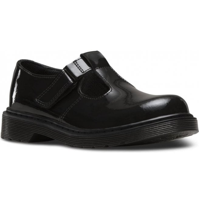 Dr Martens - Kids Youths Goldie Y Black Patent T-Bar Shoes 21986001
