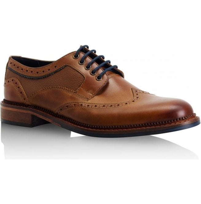 Goodwin Smith Mens Alfred Tan Leather Derby Brogue Shoes