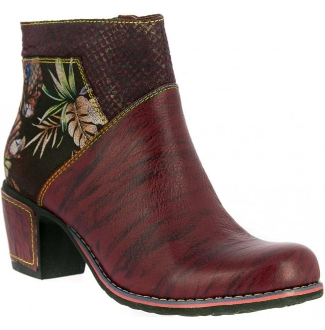 Laura Vita Womens Christie 05 Wine Zip Up Heeled Ankle Boots