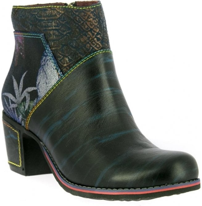 Laura Vita Womens Christie 05 Blue Zip Up Heeled Ankle Boots