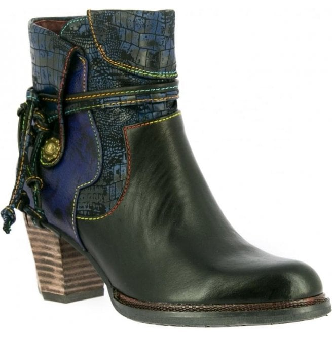 Laura Vita Womens Cathy 14 Noir Zip Up Heeled Ankle Boots