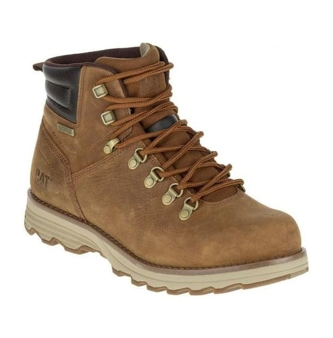 Caterpillar Mens Sire Brown Sugar Leather Wide Fit Waterproof D-Ring Boots