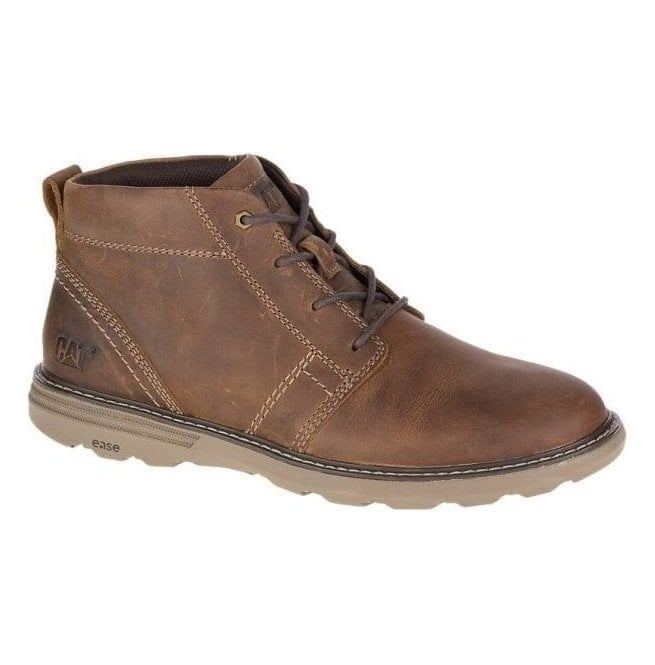 Caterpillar Mens Trey Dark Beige Leather Wide Fit Casual Lace Up Boots