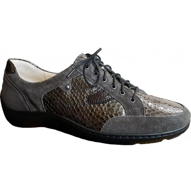 Waldlaufer Womens Henni Grey/Brown Lace Up Shoes 496023 315 846