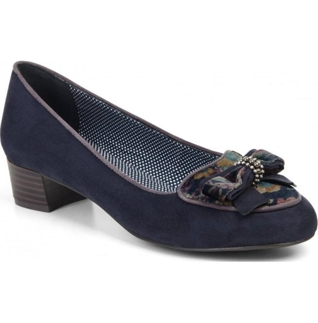 Ruby Shoo Womens Victoria Navy Slip On Court Shoes 09137