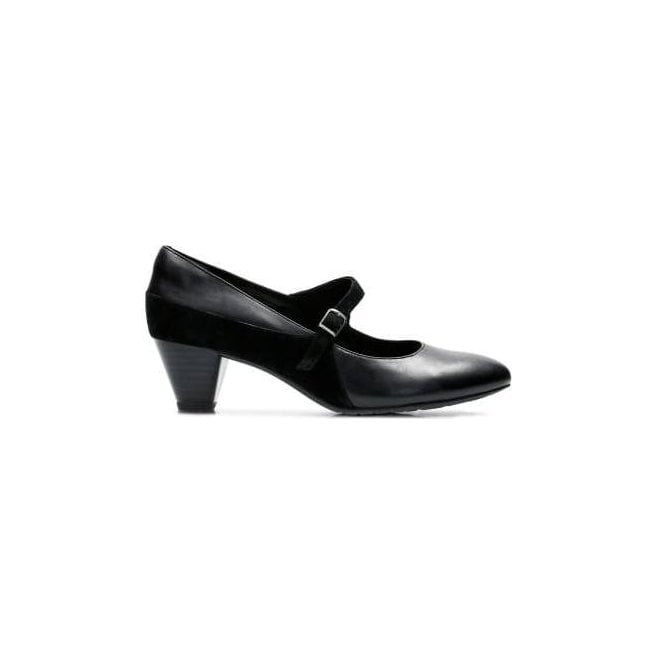 Clarks Womens Denny Bradford Black Leather/Suede Combi Mary Jane Shoes